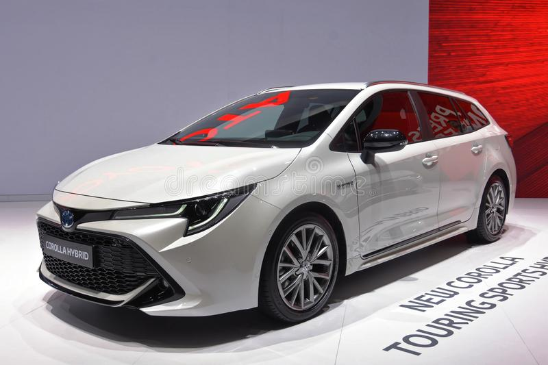 89th Geneva International Motor Show - Toytota Corolla Touring Sports Hybrid. Corolla is the worldwide best selling car name ever 45million sold by 2018 and in stock photography