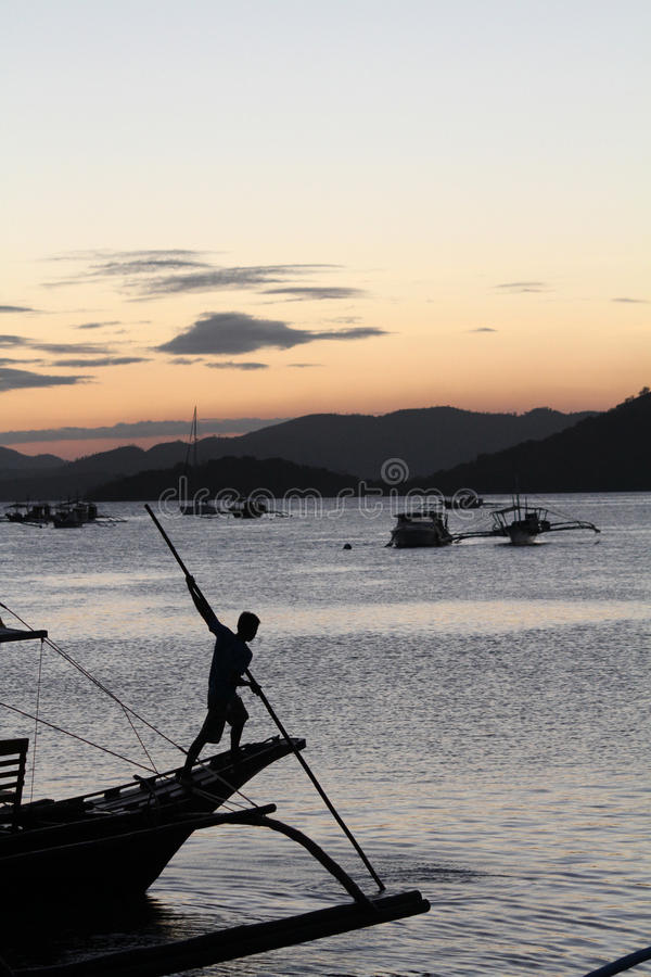 Coron Harbour, Palawan. Sunset in the Coron harbour, Philippines stock images