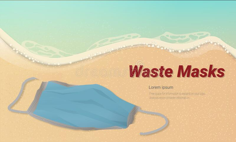 Surgical mask is left abandoned on the beach. Preventing germs spread. stock photo