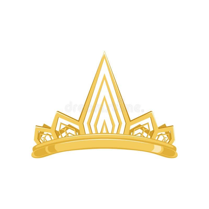 Corona antigua de oro para el ejemplo del vector de la tiara del rey o del monarca, de la reina o de la princesa libre illustration