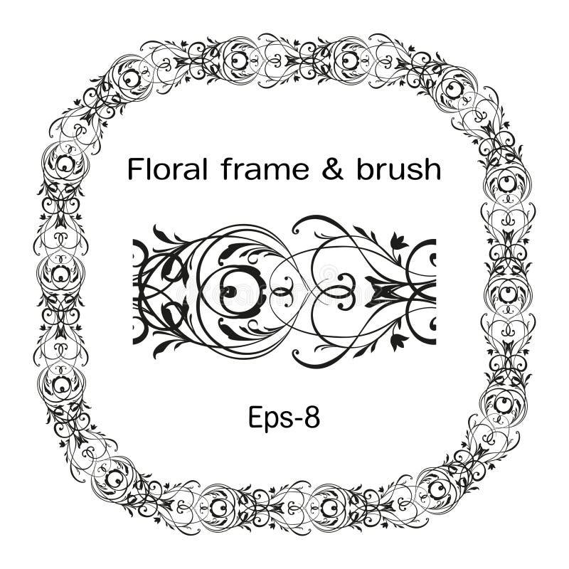 Corona arrotondata decorata floreale di rettangolo isolata su fondo e sulla spazzola bianchi Elemento ovale di vettore di Horison illustrazione di stock
