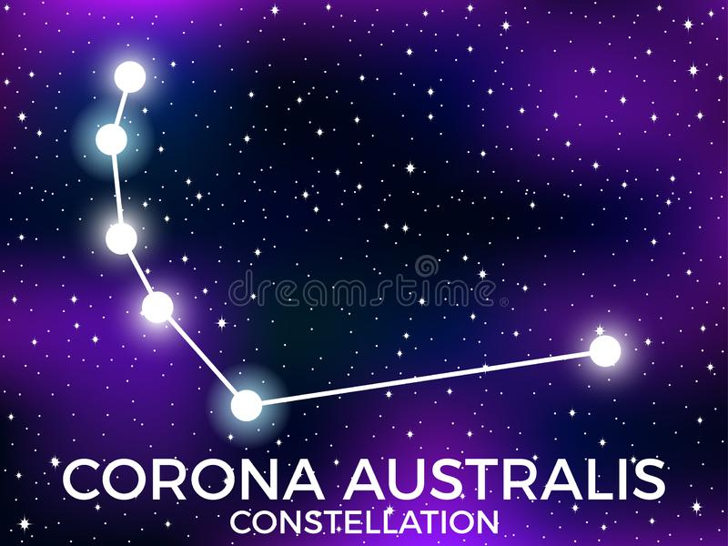 Corona Australis constellation. Starry night sky. Zodiac sign. Cluster of stars and galaxies. Deep space. Vector. Illustration stock illustration