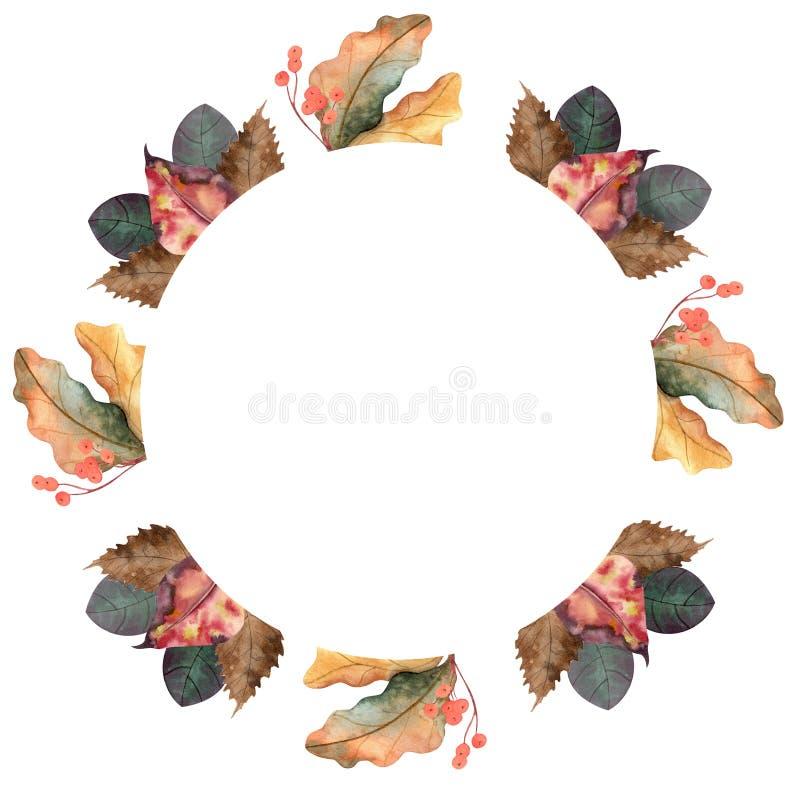 Corona autunnale dell'acquerello fotografia stock