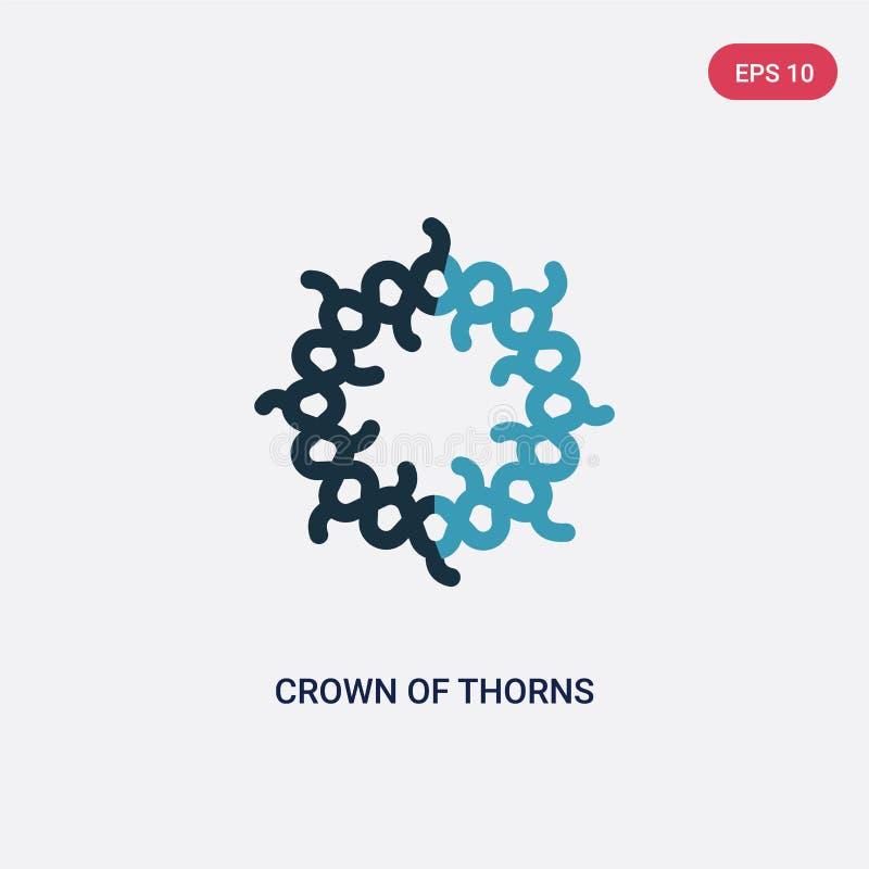 Corona bicolor del icono del vector de las espinas del concepto de la religión la corona azul aislada del símbolo de la muestra d stock de ilustración