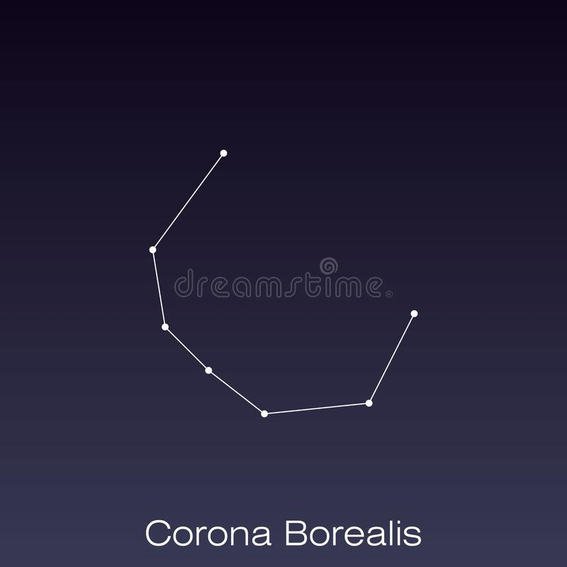 Constellation as it can be seen by the naked eye. Corona Borealis constellation as it can be seen by the naked eye royalty free illustration