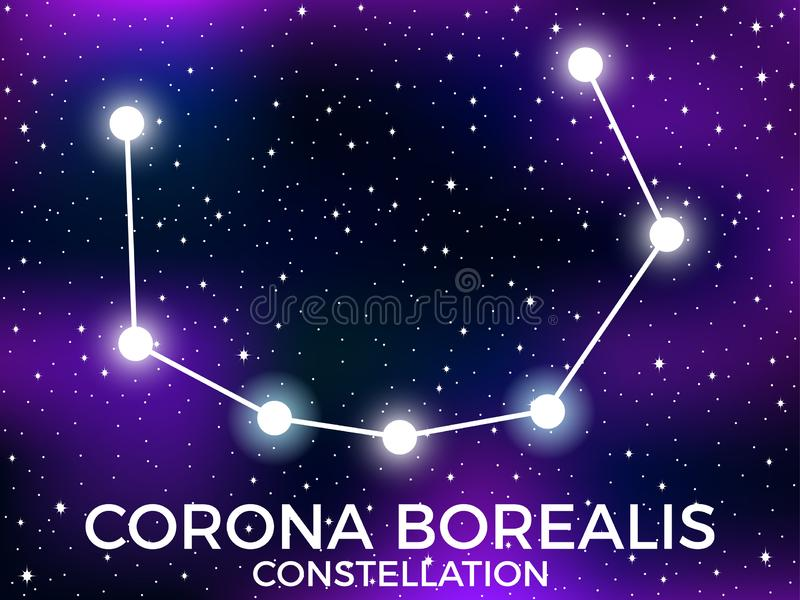 Corona Borealis constellation. Starry night sky. Zodiac sign. Cluster of stars and galaxies. Deep space. Vector. Illustration royalty free illustration