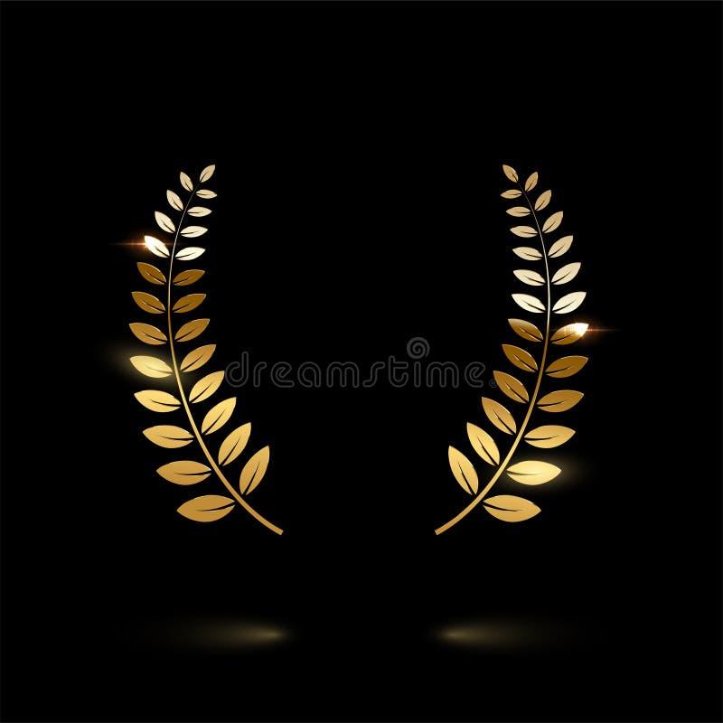 Corona brillante dorata dell'alloro isolata su fondo nero Elemento di disegno di vettore illustrazione vettoriale