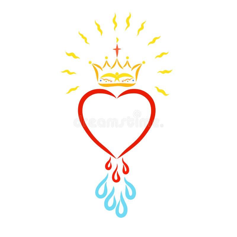 Corona brillante sobre corazón con descensos de la sangre y del agua ilustración del vector