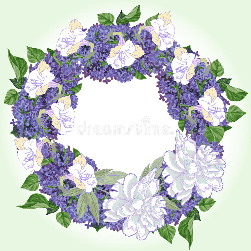 Corona con due peonie e lillà bianchi illustrazione di stock