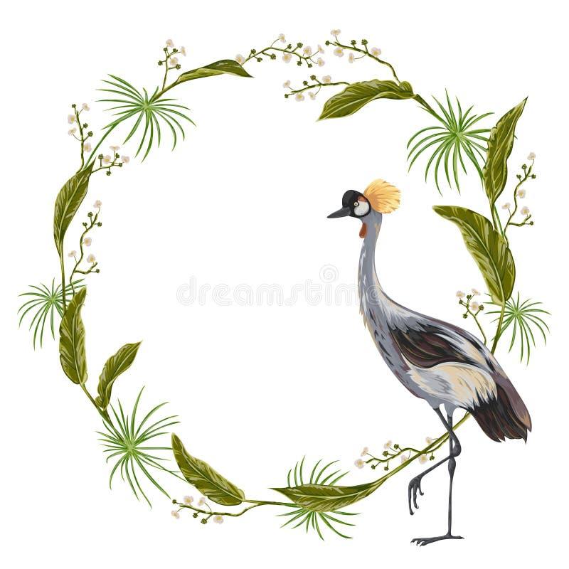 Corona con l'uccello della gru e le piante selvatiche Motivo orientale illustrazione vettoriale