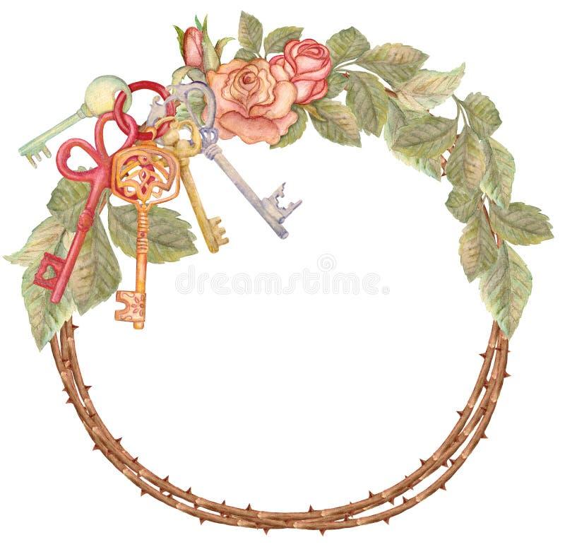 Corona con le chiavi, inaugurazione di una nuova casa della rosa dell'acquerello royalty illustrazione gratis
