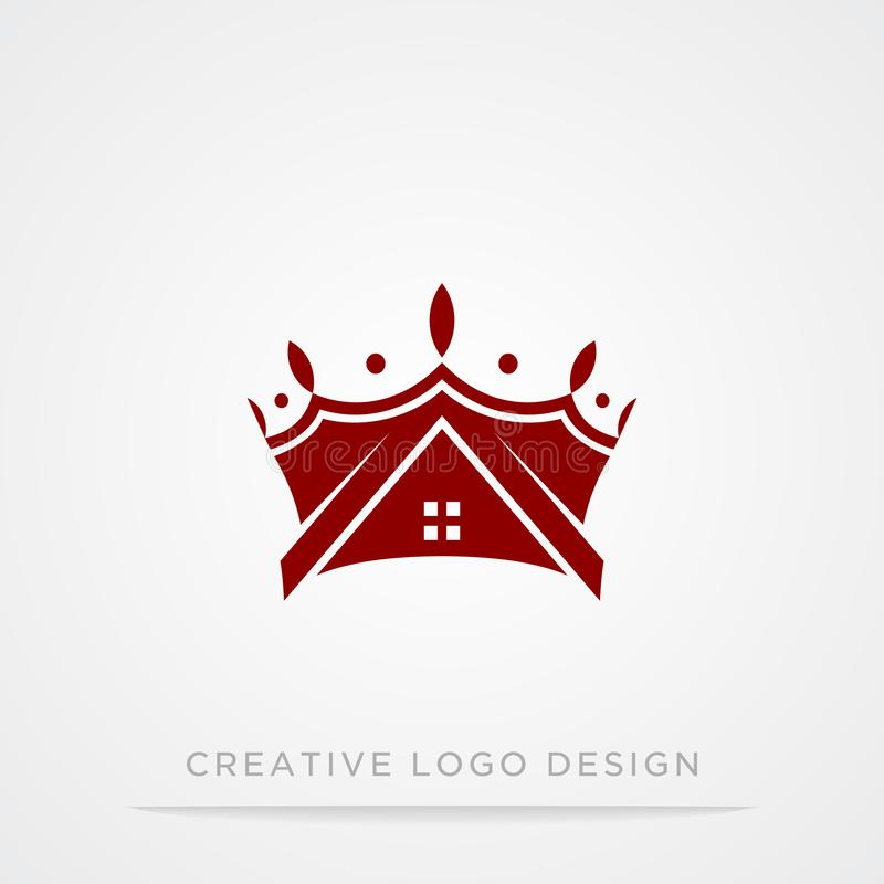 Corona creativa del vintage y plantilla abstracta casera del diseño del logotipo Logotipo del símbolo del concepto de Logo Royal  stock de ilustración