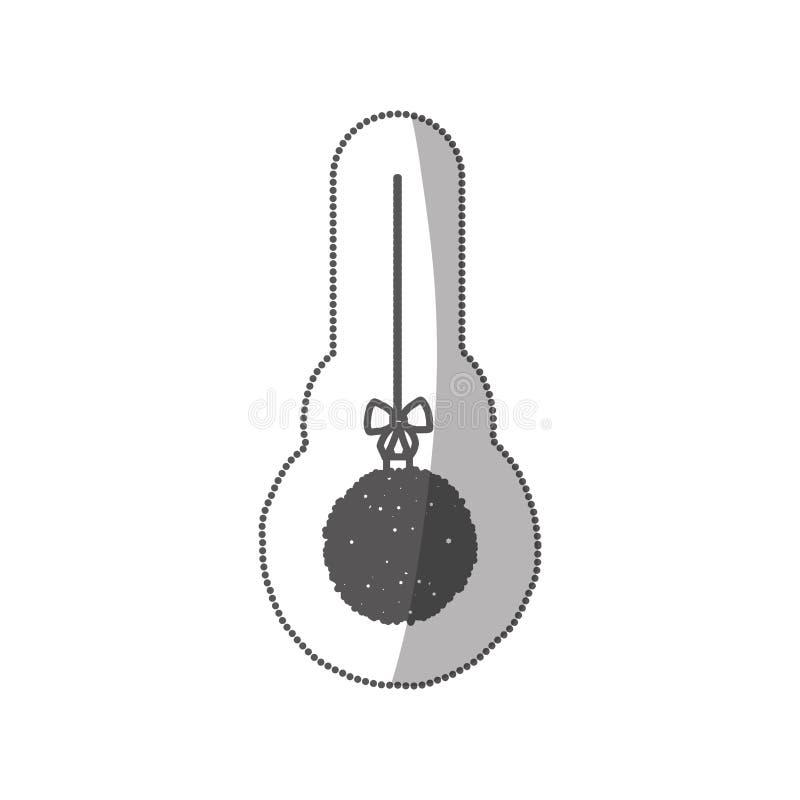 corona d'attaccatura di natale della siluetta monocromatica dell'autoadesivo di vetro con le decorazioni della stella illustrazione di stock