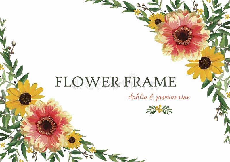 Corona Dahlia Sunflower giallo arancione, foglie del fiore dell'eucalyptus royalty illustrazione gratis
