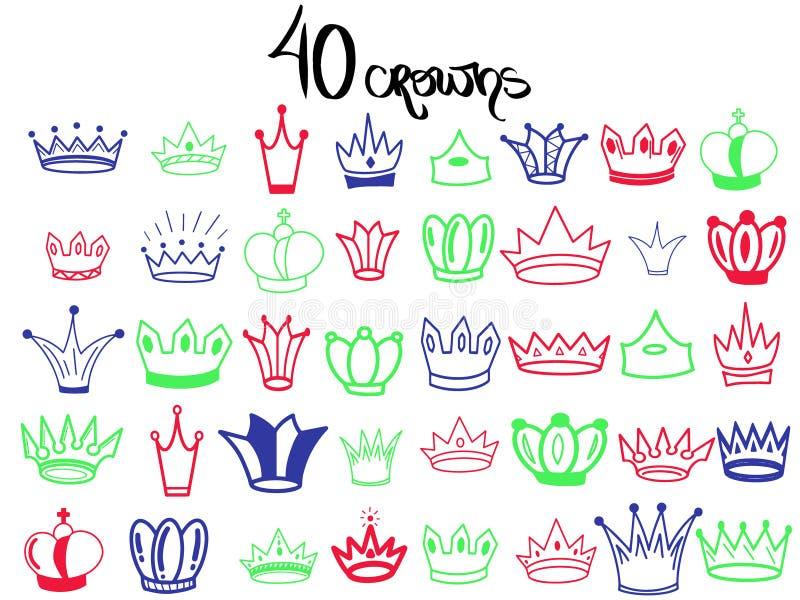 Corona de 40 bosquejos Coronas determinadas grandes coloridas Tiara elegante de la reina, corona del rey aislada en el fondo blan stock de ilustración