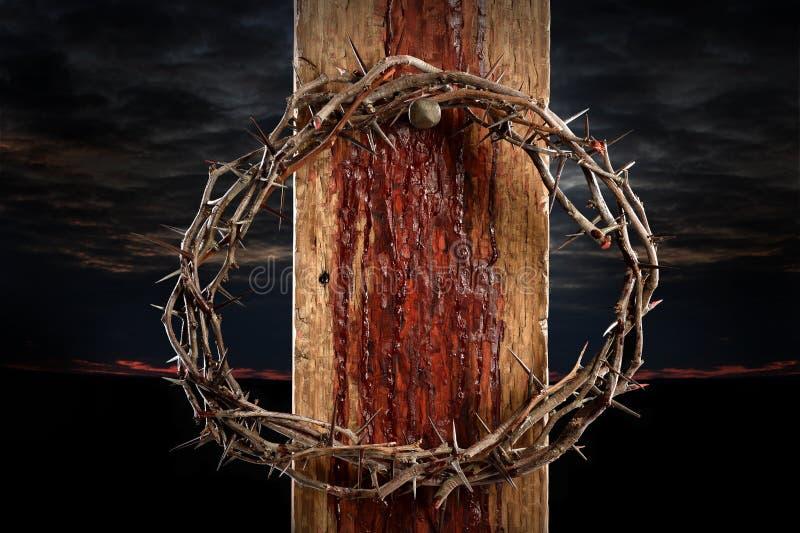 Corona de espinas en cruz foto de archivo