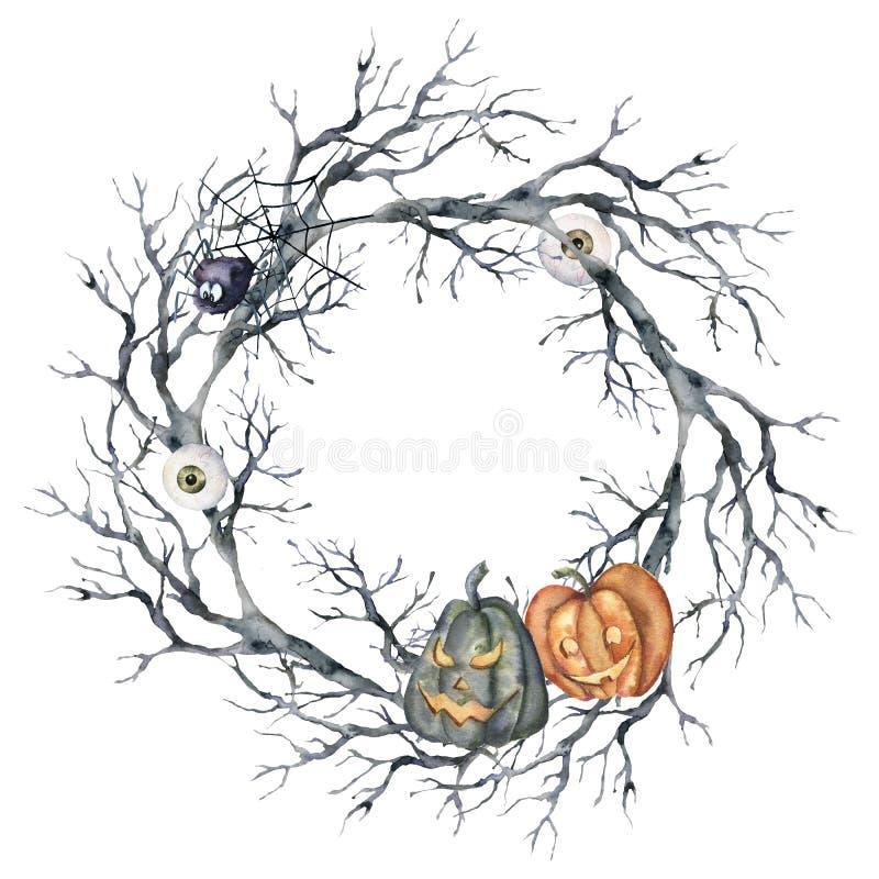 Corona de Halloween color agua con araña y calabaza. Plantilla de vacaciones pintadas a mano con rama de árbol, ojo y ardor ilustración del vector