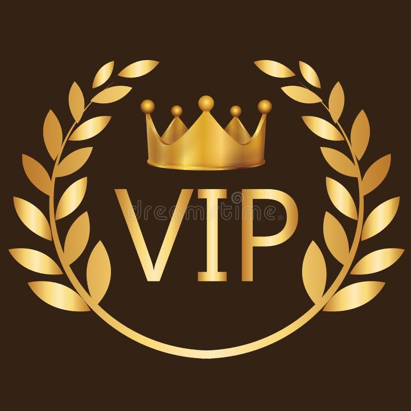 Corona de la exclusiva de la etiqueta del club de la persona muy importante del oro del símbolo de la muestra del VIP stock de ilustración