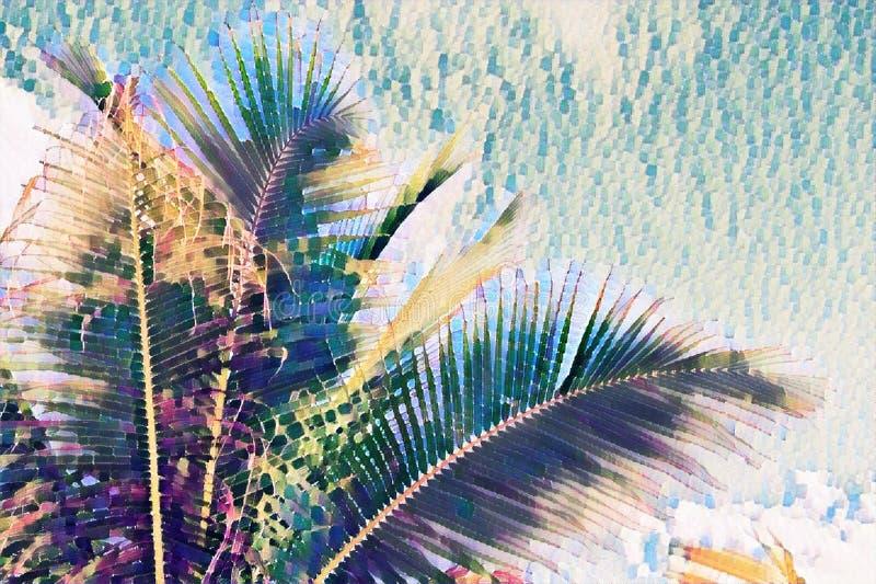 Corona de la palmera de los Cocos en fondo del cielo Hoja de palma en el cielo de la puesta del sol Ejemplo digital descolorado v libre illustration