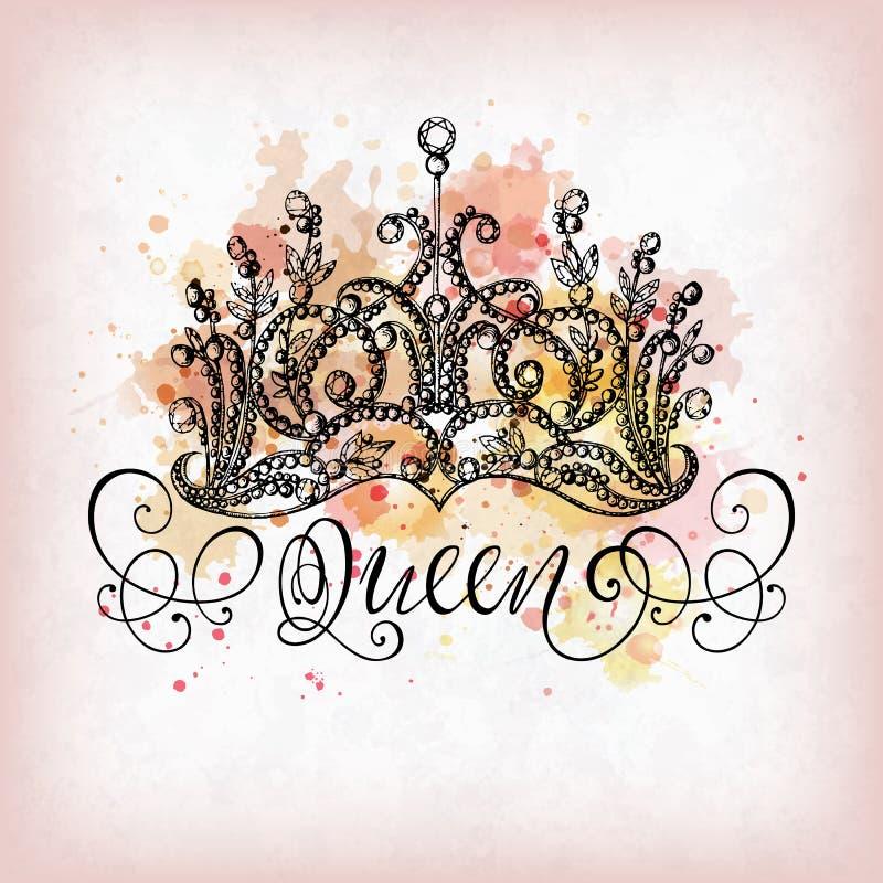 Corona de la reina con las letras ilustración del vector