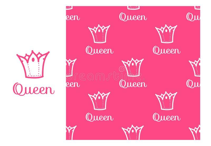 Corona de la reina del vector Modelo de repetición inconsútil aislado en fondo rosado Diseño moderno para las muchachas stock de ilustración