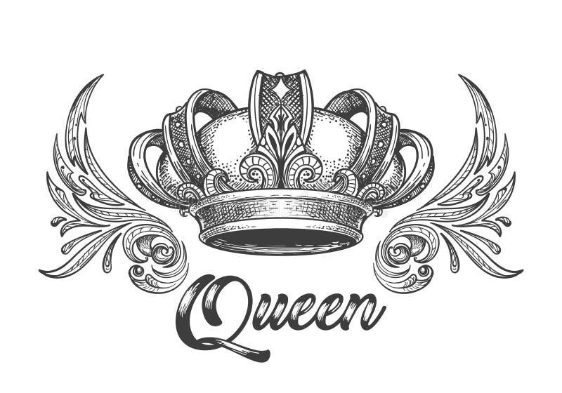 Corona de la reina en estilo retro stock de ilustración