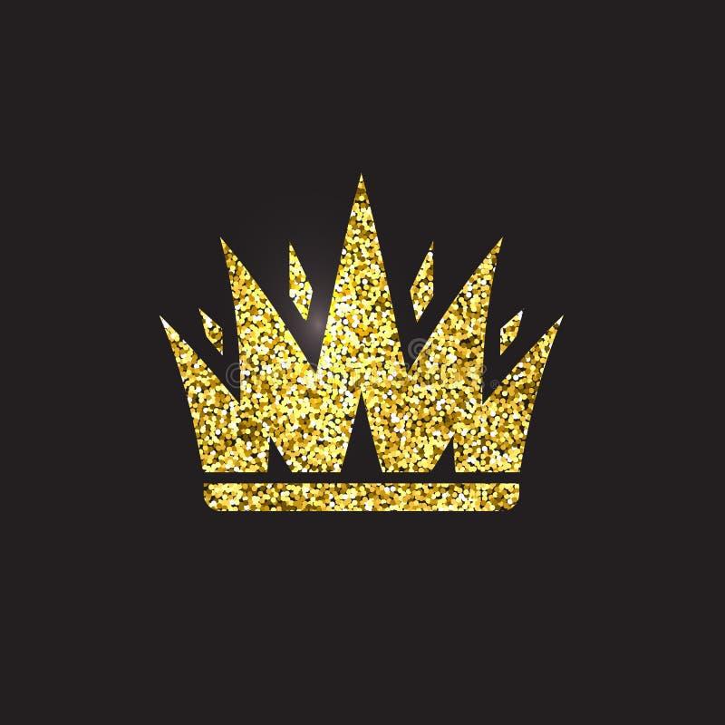 Corona de la reina, tocado real del oro Accesorio de oro del rey Ejemplos aislados del vector Símbolo de la clase de la élite en  stock de ilustración