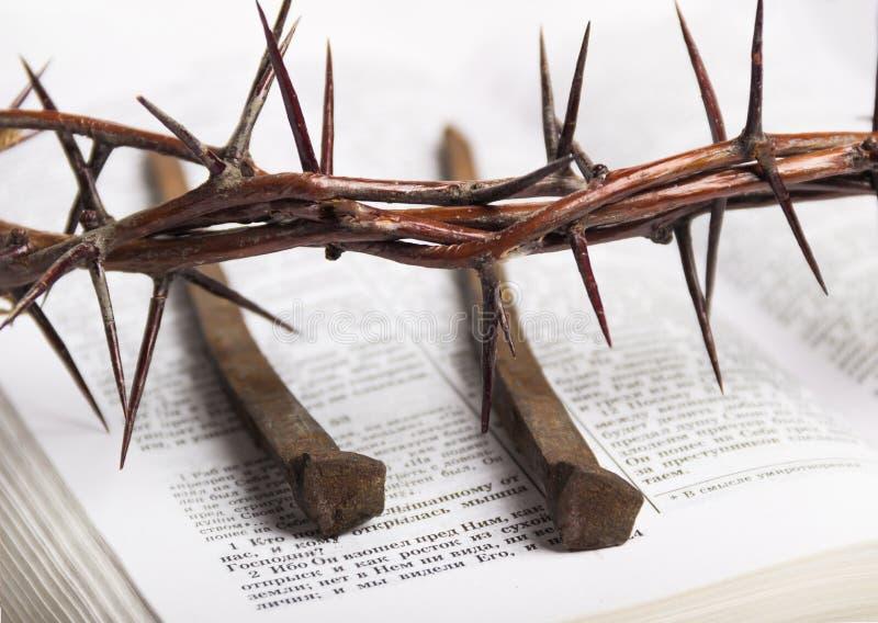 Corona de los clavos de Jesus Christ Bible de las espinas fotos de archivo libres de regalías