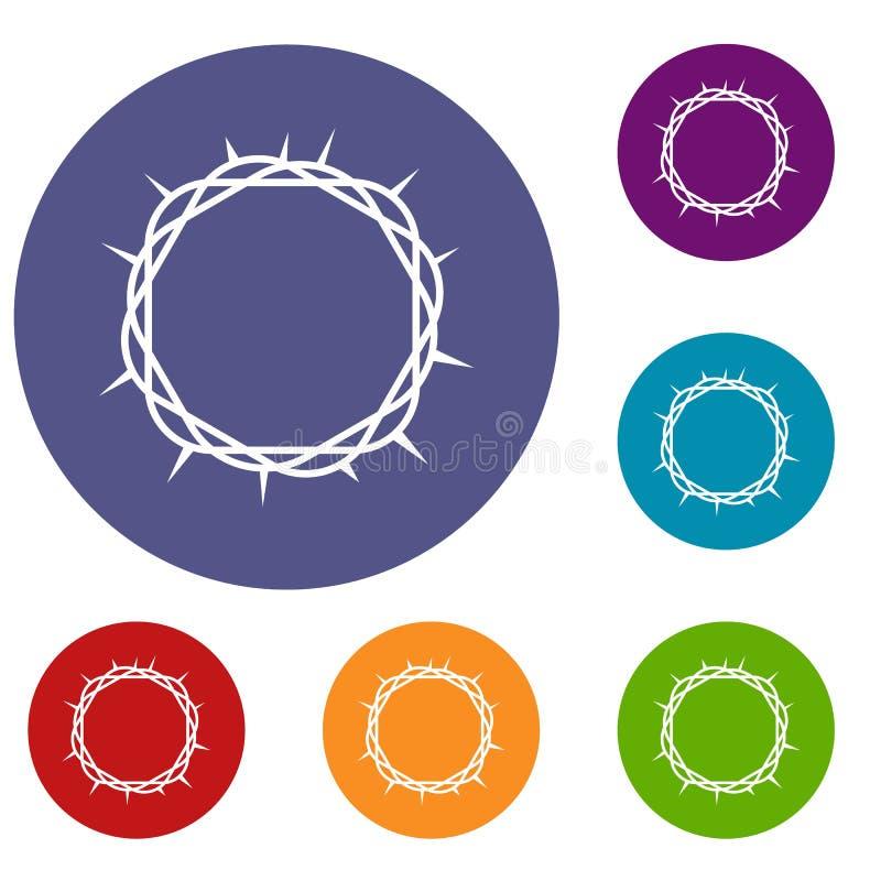Corona de los iconos de las espinas fijados stock de ilustración