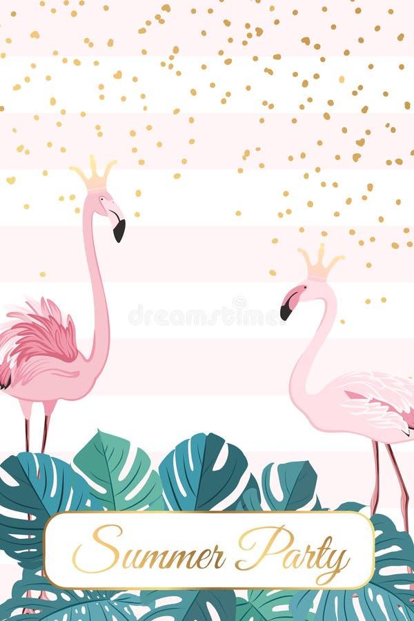 Corona de los pares de los pájaros del flamenco de la plantilla del partido del verano libre illustration