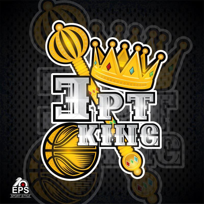 Corona de oro, cetro, bola del baloncesto con el rey de tres puntos del texto Logotipo del deporte del vector stock de ilustración