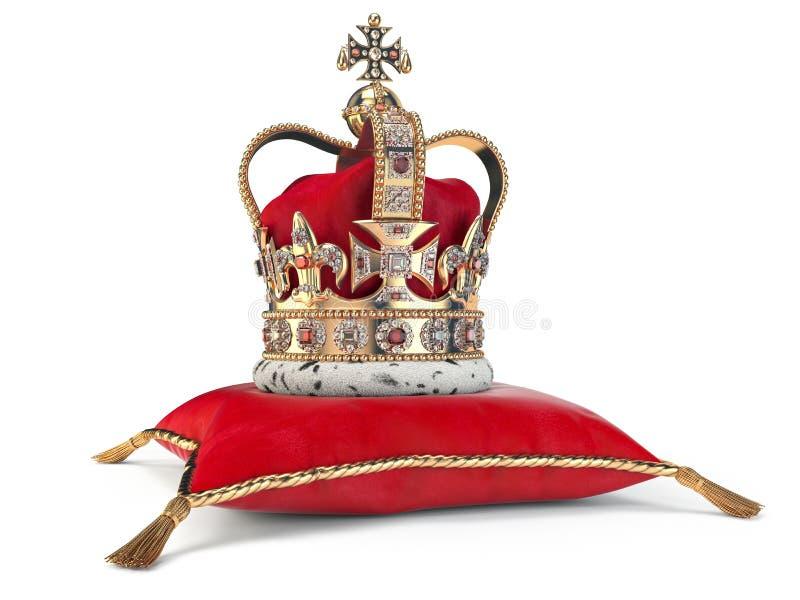 Corona de oro en la almohada roja del terciopelo para la coronación Símbolo real de la monarquía BRITÁNICA británica libre illustration