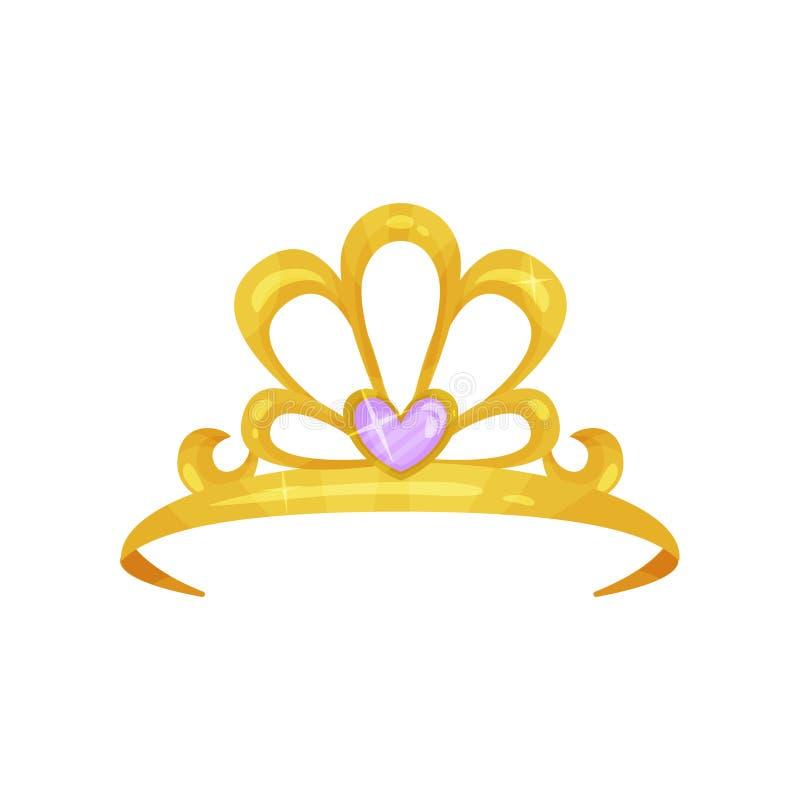 Corona de oro de la reina con la piedra púrpura preciosa en la forma del corazón Tiara brillante de la princesa Joyería costosa C stock de ilustración