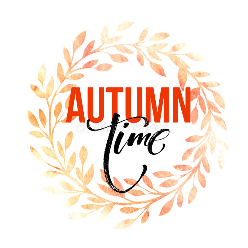 Corona dei fogli di autunno struttura dell'acquerello Foglia di caduta Progettazione di iscrizione di vendita Illustrazione di ve illustrazione vettoriale