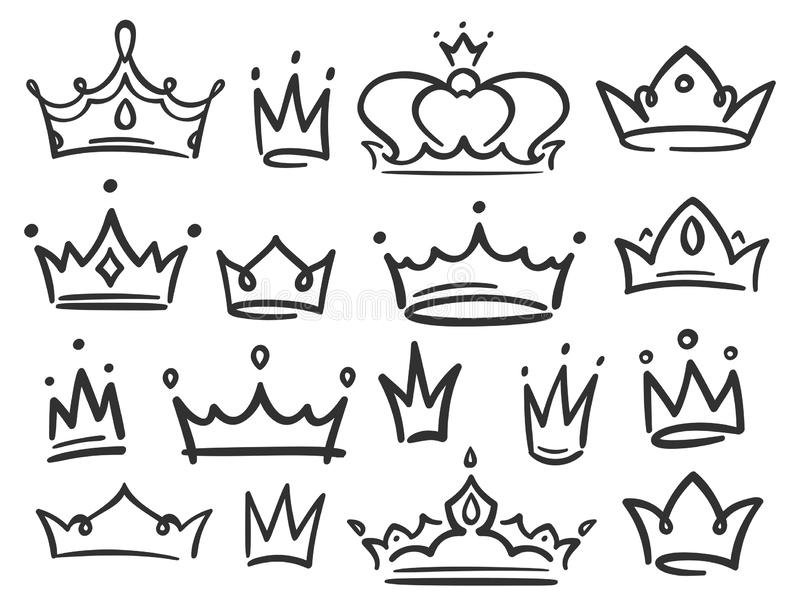Corona del bosquejo La coronación simple de la pintada, la reina elegante o las coronas del rey dan el ejemplo exhausto del vecto stock de ilustración