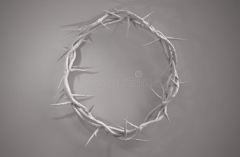 Corona del centro de la representación de las espinas 3D desde arriba del espacio vacío libre illustration