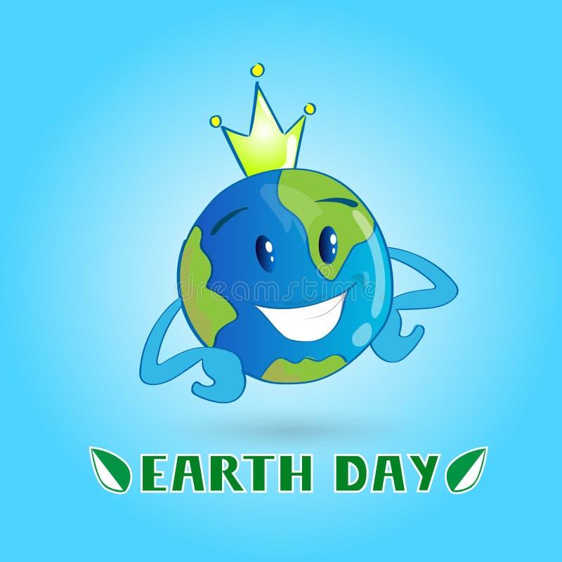 Corona del desgaste del globo del personaje de dibujos animados del mundo del Día de la Tierra stock de ilustración