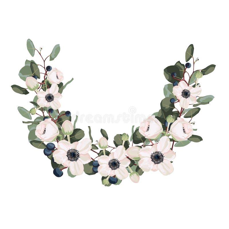Corona del fiore con le foglie ed i fiori Vettore La progettazione dell'invito Fondo per i risparmi le date illustrazione di stock