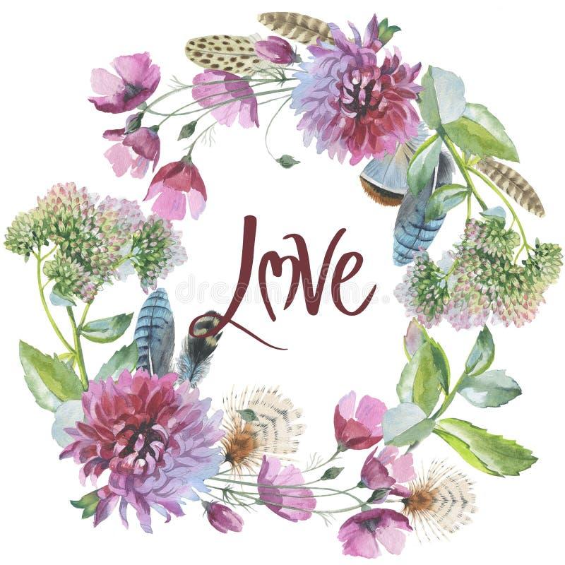 Corona del fiore del crisantemo del Wildflower in un iso di stile dell'acquerello royalty illustrazione gratis