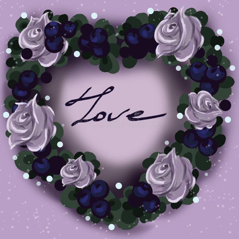 Corona del fiore sotto forma di un cuore per il San Valentino royalty illustrazione gratis