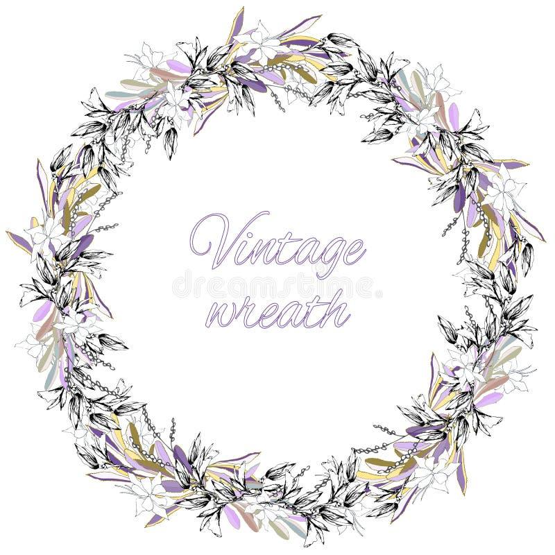 Corona del fiore Stile dell'annata Corona di nozze dei fiori e delle foglie delicati royalty illustrazione gratis