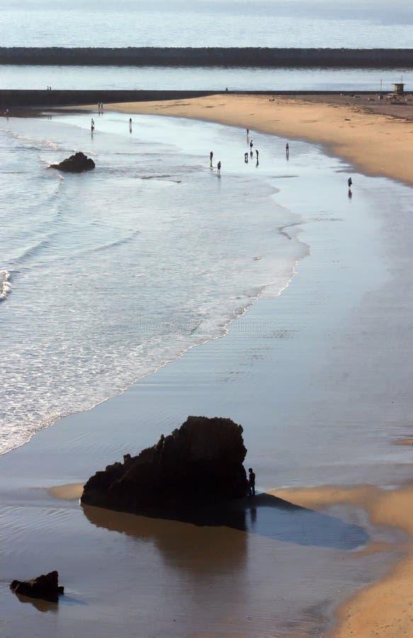 Corona Del Mar Rock and Beach. Corona Del Mar looking towards the Jetties stock photos