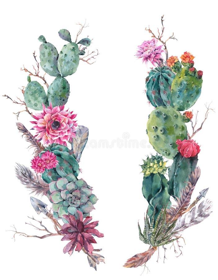 Corona del mazzo dei fiori con il cactus, succulente illustrazione vettoriale