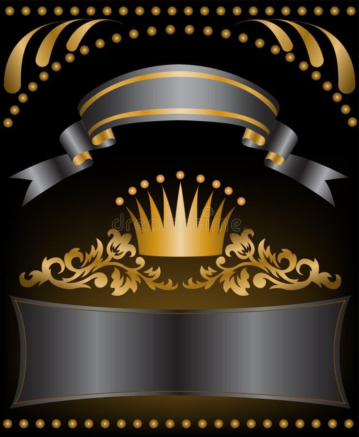 Corona del oro con las cintas stock de ilustración