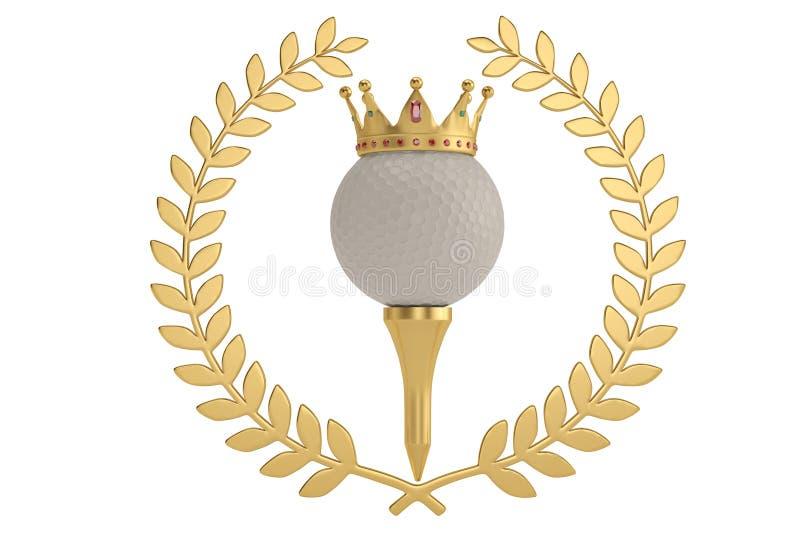 Corona del oro en pelota de golf y blanco de oro del isolatedon de la rama de olivo stock de ilustración