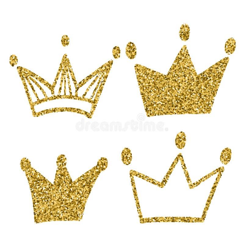 Corona del oro fijada en el fondo blanco Brillos fijados de las coronas del rey Ilustración del vector Diseño gráfico para su de stock de ilustración