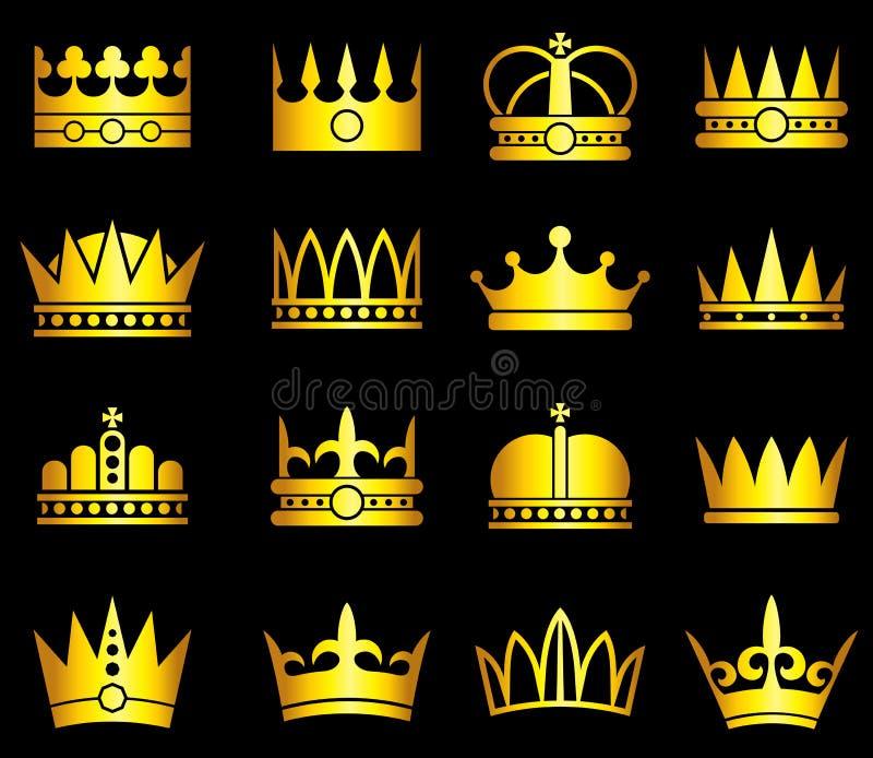 Corona del oro, sistema del vector de los símbolos de la aristocracia ilustración del vector
