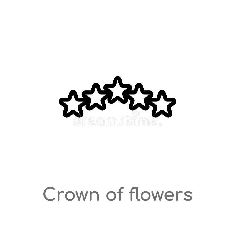 corona del profilo dell'icona di vettore dei fiori linea semplice nera isolata illustrazione dell'elemento dal concetto di pace d illustrazione vettoriale