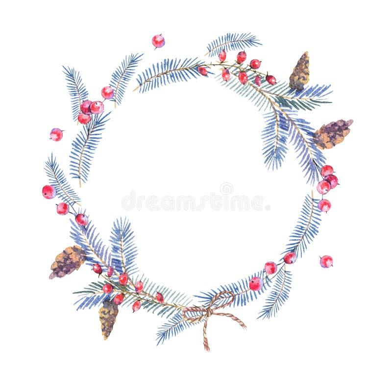 Corona dell'acquerello con i coni, rami attillati royalty illustrazione gratis