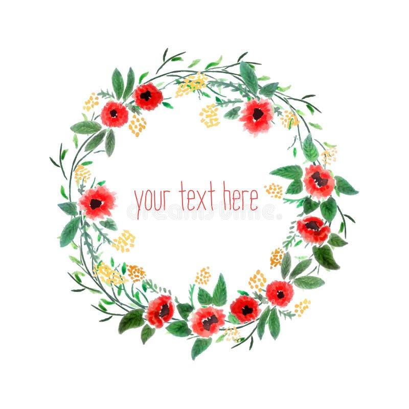 Corona dell'acquerello con i fiori illustrazione vettoriale